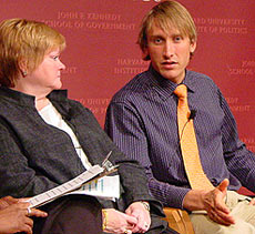 Michael Glatze with Matthew Shepard's mother, Judy Shepard (Harvard University photo)